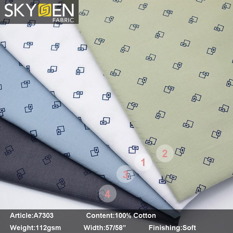 A7303 Print Oxford Slub Design Fabric Cotton Shirt Fabric